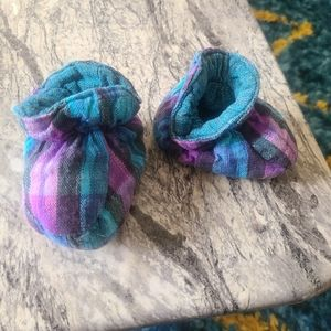 Baby booties | Blue and Purple Plaid [NWOT]
